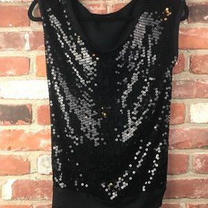 Velvet sequined black top size s